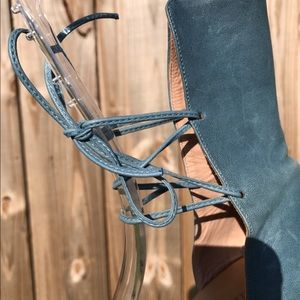 Chloe Shoes - Chloe Blue Leather Strappy Wedge Heels Size 6